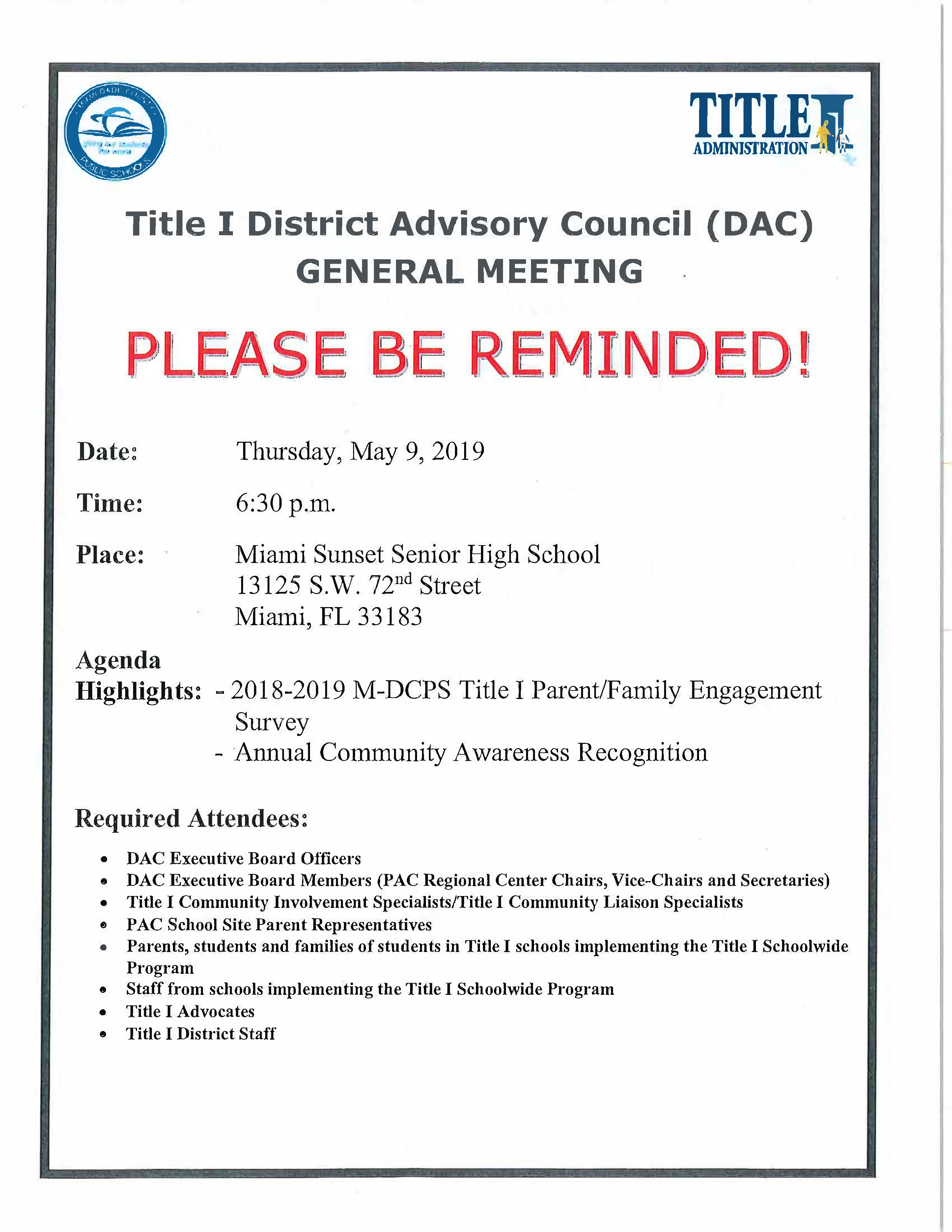Title I DAC Meeting 5.9.19 English