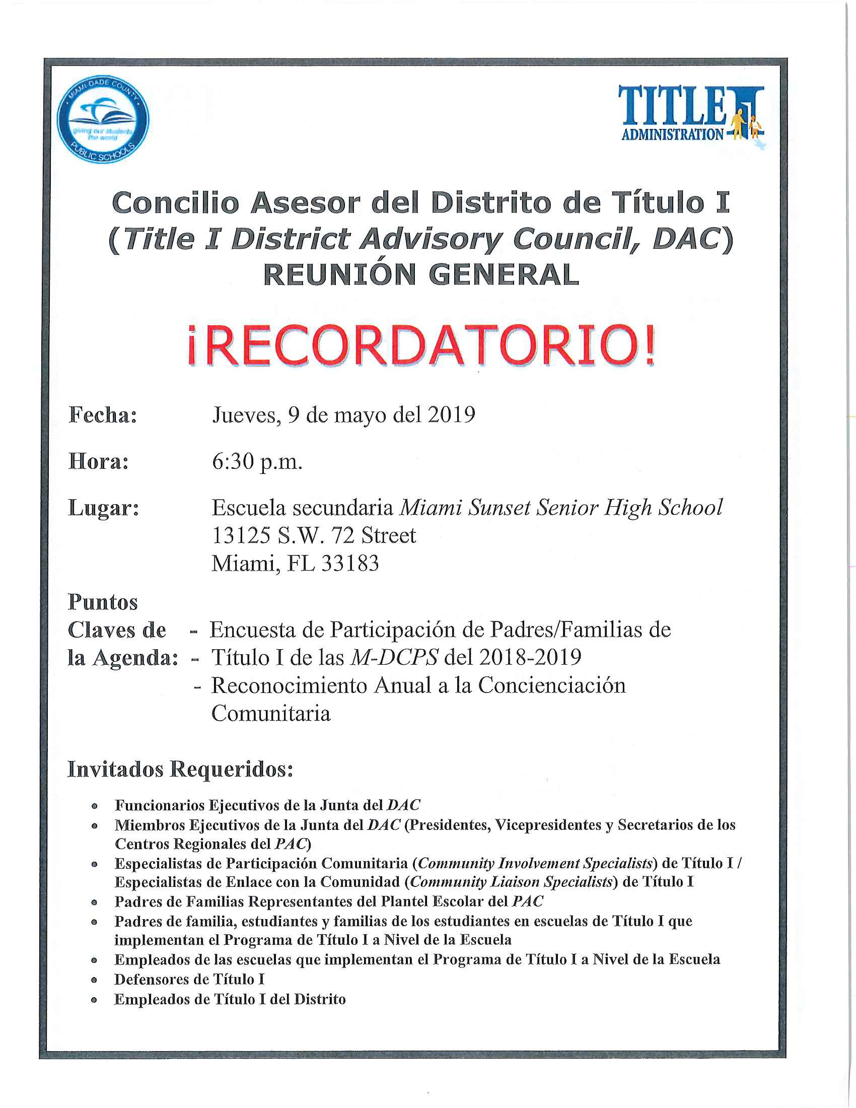 Title I DAC Meeting 5.9.19 Spanish