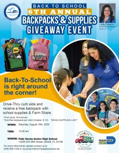 District 7 Backpacks & Supplies Giveaway @ Felix Varela Senior High   Miami   Florida   United States