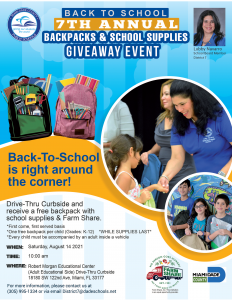 District 7 Backpacks and School Supplies Drive-Thru @ Robert Morgan Education Center (Adult Education Side) | Miami | Florida | United States